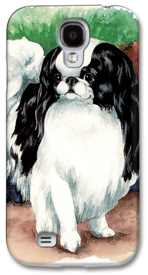 Japanese Chin Galaxy S4 Case featuring the painting Garden Chin by Kathleen Sepulveda