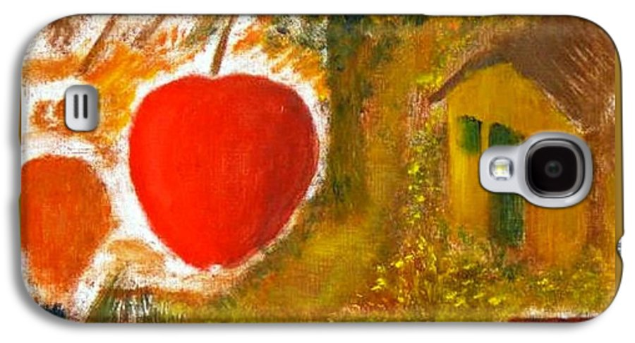 Abstract Apple Adam Ave Galaxy S4 Case featuring the painting Garden Of Eden by R B
