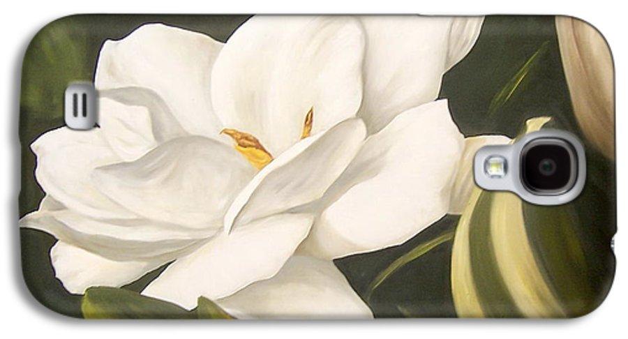 Gardenia Flower Galaxy S4 Case featuring the painting Gardenia by Natalia Tejera