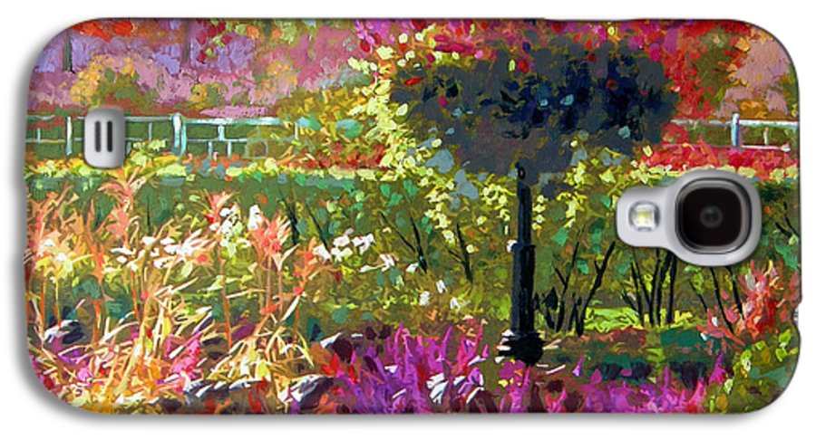 Landscape Galaxy S4 Case featuring the painting Gas Light In The Garden by John Lautermilch
