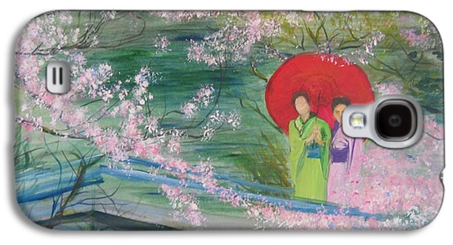 Landscape Galaxy S4 Case featuring the painting Geishas And Cherry Blossom by Lizzy Forrester