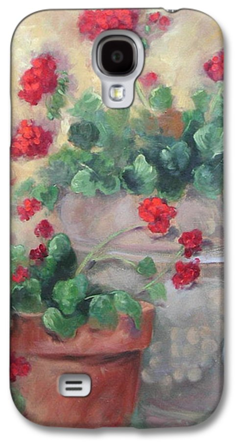 Geraniums Galaxy S4 Case featuring the painting Geraniums by Ginger Concepcion
