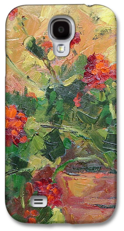 Geraniums Galaxy S4 Case featuring the painting Geraniums II by Ginger Concepcion