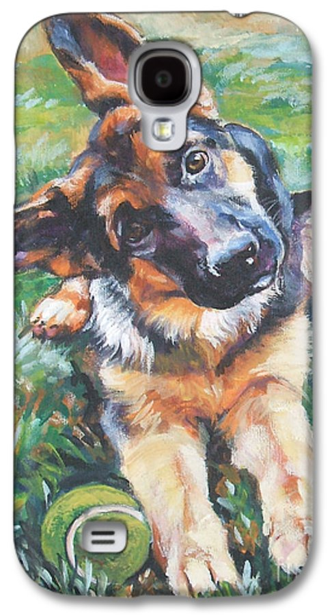 Dog Galaxy S4 Case featuring the painting German Shepherd Pup With Ball by Lee Ann Shepard