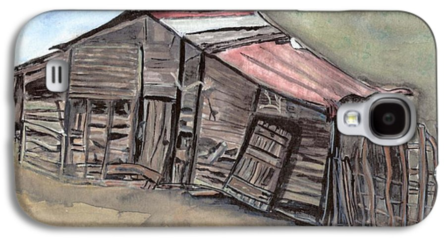 Barn Galaxy S4 Case featuring the painting Gila New Mexico Cattle Barn by Margaret Fortunato