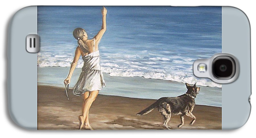 Portrait Girl Beach Dog Seascape Sea Children Figure Figurative Galaxy S4 Case featuring the painting Girl And Dog by Natalia Tejera