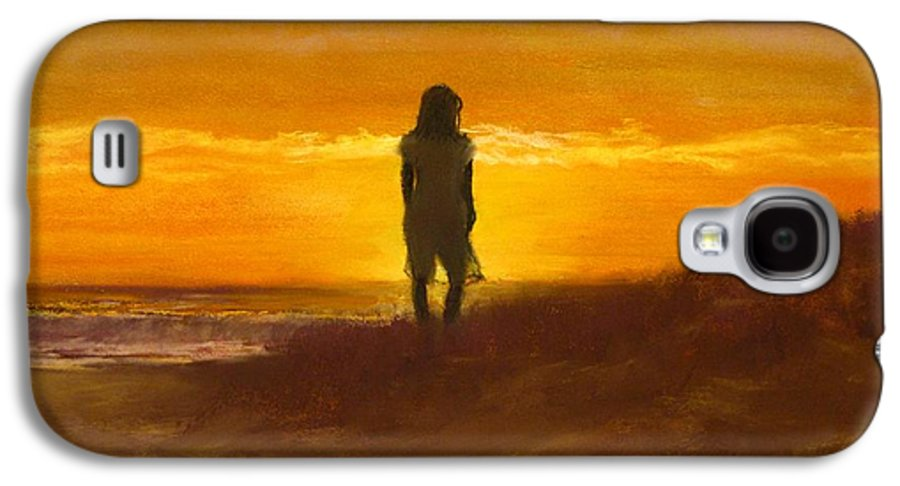 Beach Galaxy S4 Case featuring the painting Girl On The Dunes by Jack Skinner