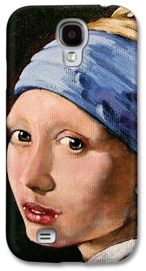 Portrait Galaxy S4 Case featuring the painting Girl With A Pearl Earring A Reproduction Of Vermeer by Joan Garcia