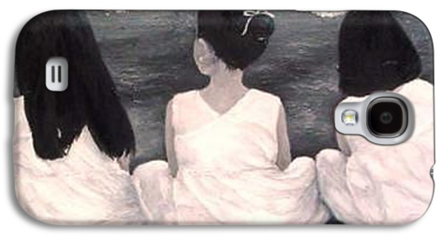 Girls Galaxy S4 Case featuring the painting Girls In White At The Beach by Patricia Awapara