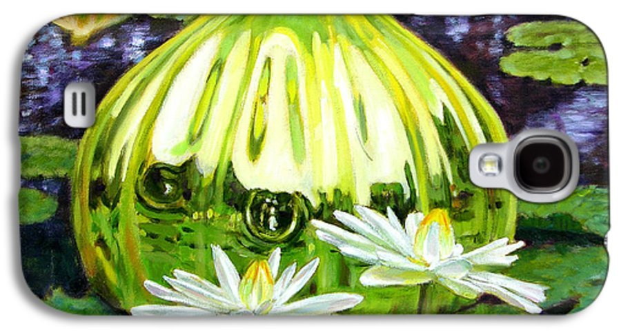 Water Lilies Galaxy S4 Case featuring the painting Glass Among The Lilies by John Lautermilch