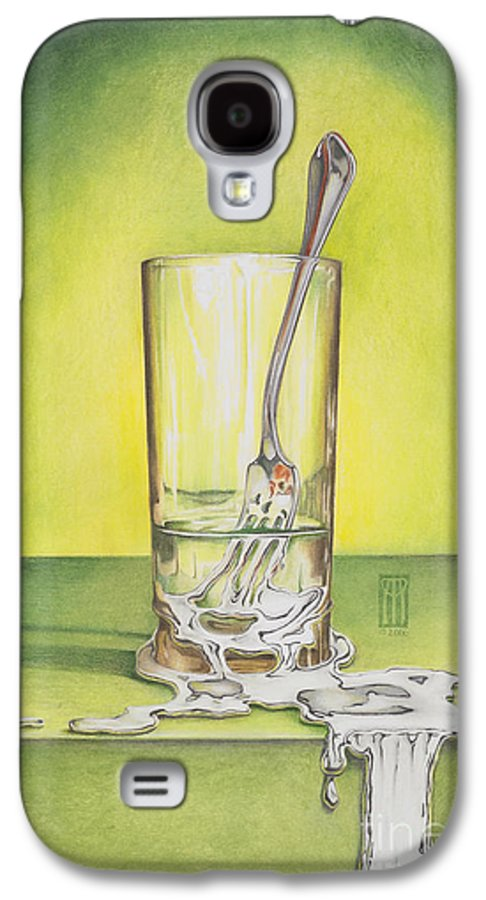 Bizarre Galaxy S4 Case featuring the painting Glass With Melting Fork by Melissa A Benson