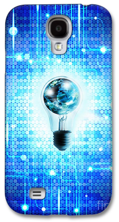 Abstract Galaxy S4 Case featuring the photograph Globe And Light Bulb With Technology Background by Setsiri Silapasuwanchai