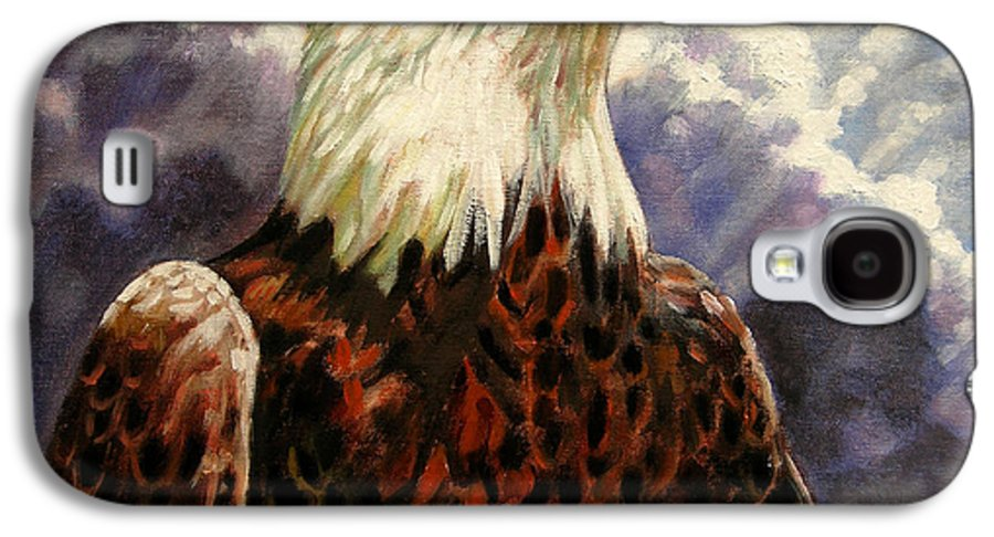 American Bald Eagle Galaxy S4 Case featuring the painting God Bless America by John Lautermilch