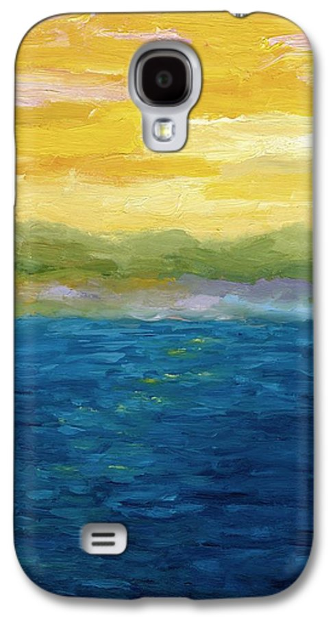 Lake Galaxy S4 Case featuring the painting Gold And Pink Sunset by Michelle Calkins
