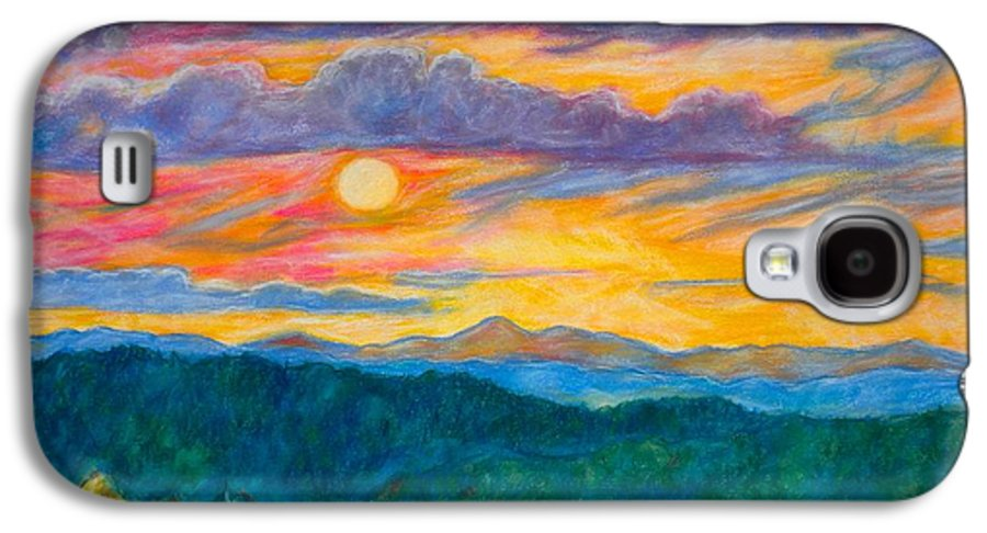 Landscape Galaxy S4 Case featuring the painting Golden Blue Ridge Sunset by Kendall Kessler
