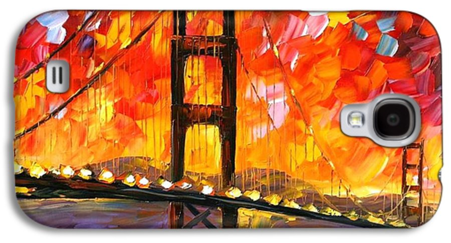City Galaxy S4 Case featuring the painting Golden Gate Bridge by Leonid Afremov