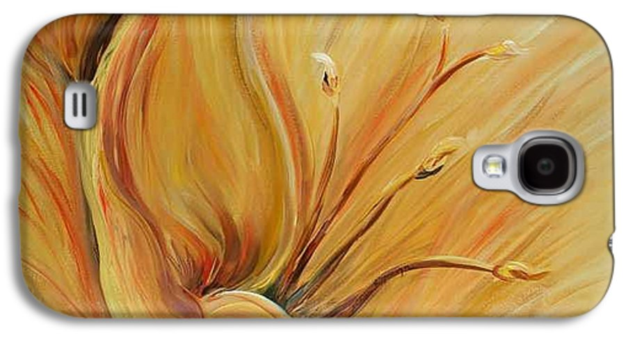 Gold Galaxy S4 Case featuring the painting Golden Glow by Nadine Rippelmeyer