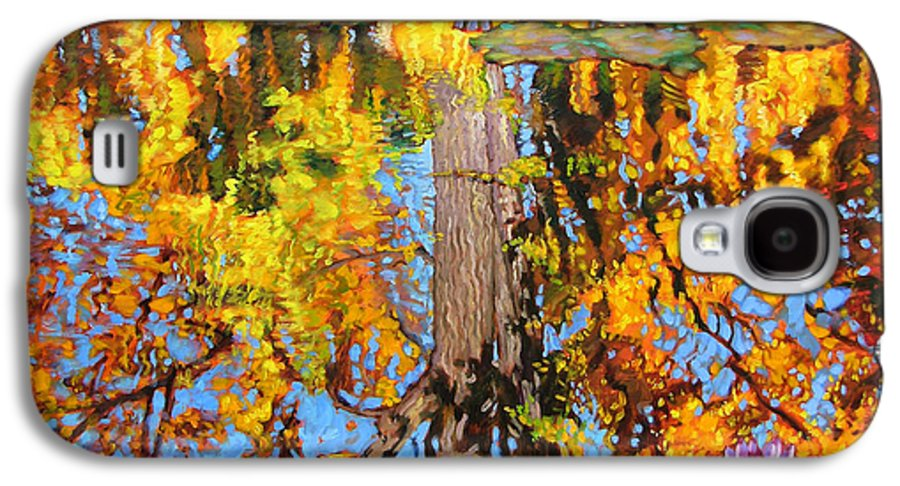 Landscape Galaxy S4 Case featuring the painting Golden Reflections On Lily Pond by John Lautermilch