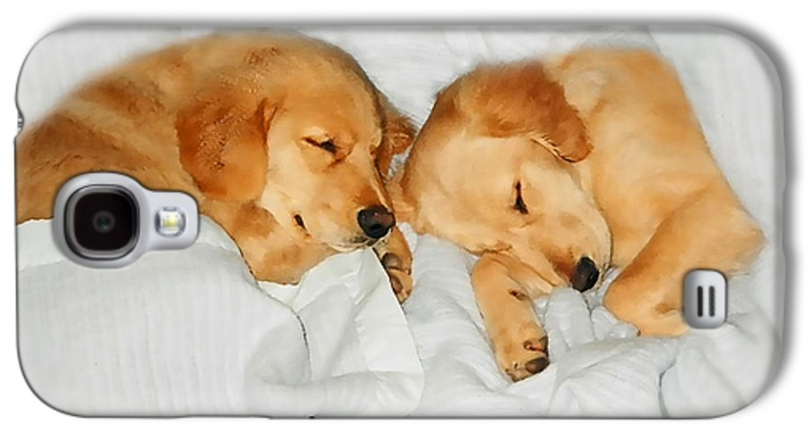 Golden Retriever Galaxy S4 Case featuring the photograph Golden Retriever Dog Puppies Sleeping by Jennie Marie Schell