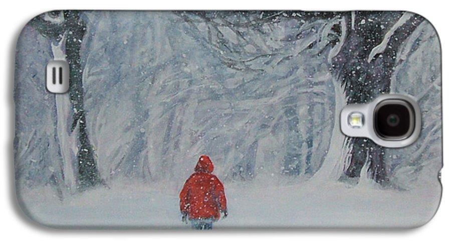 Golden Retriever Galaxy S4 Case featuring the painting Golden Retriever Winter Walk by Lee Ann Shepard
