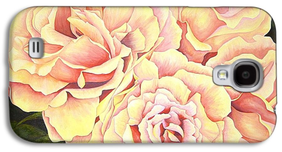 Roses Galaxy S4 Case featuring the painting Golden Roses by Rowena Finn