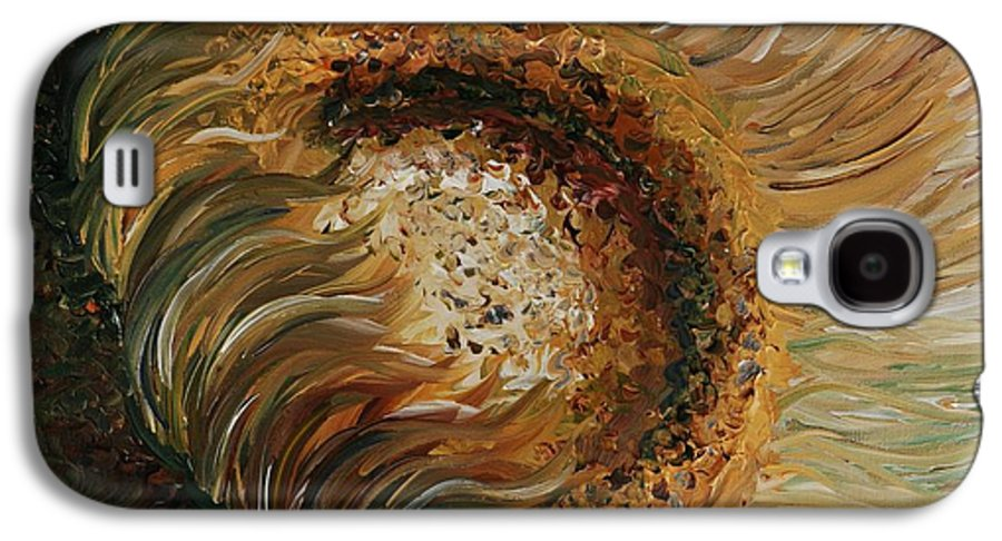 Sunflower Galaxy S4 Case featuring the painting Golden Sunflower by Nadine Rippelmeyer