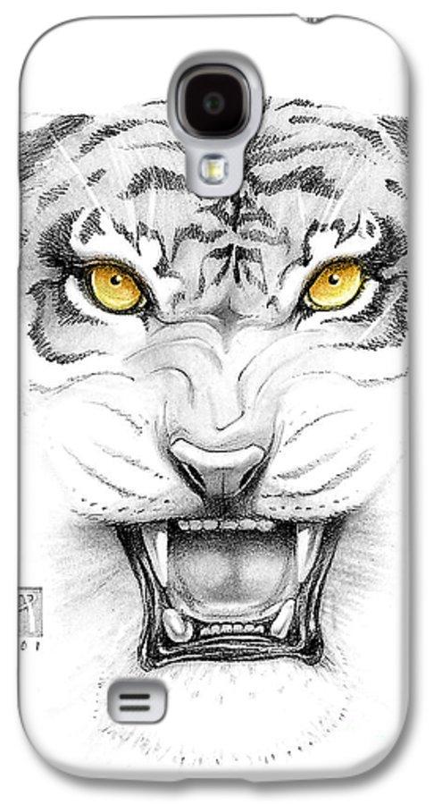 Amber Galaxy S4 Case featuring the digital art Golden Tiger Eyes by Melissa A Benson