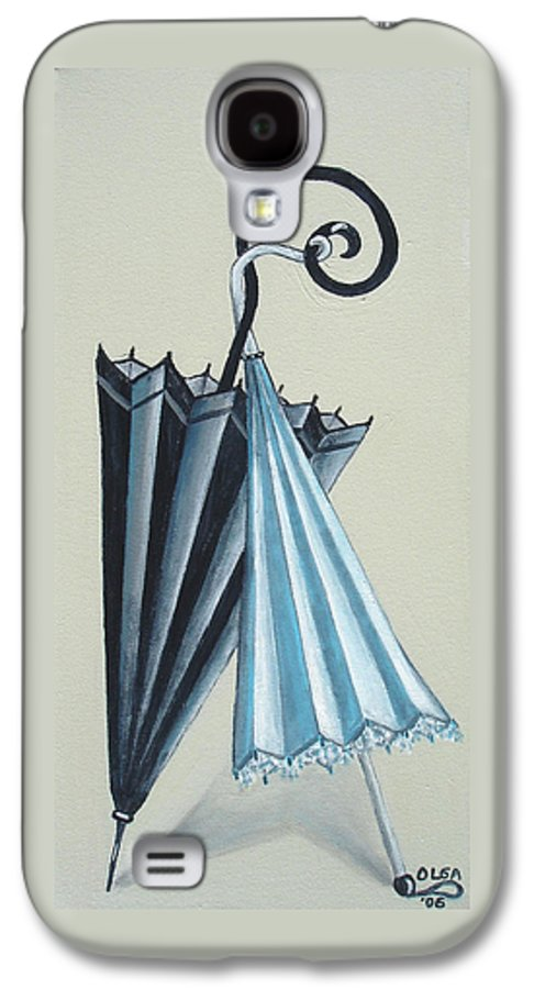 Umbrellas Galaxy S4 Case featuring the painting Goog Morning by Olga Alexeeva