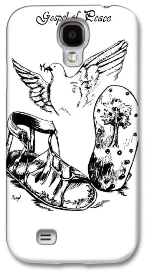 Armor Galaxy S4 Case featuring the drawing Gospel Of Peace by Maryn Crawford