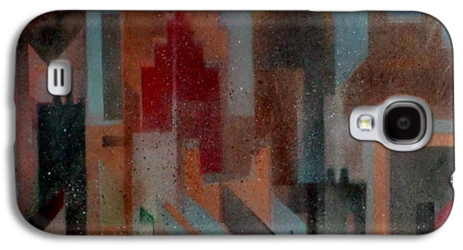Abstract Galaxy S4 Case featuring the painting Gothem City by Anita Burgermeister