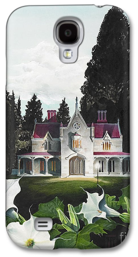 Fantasy Galaxy S4 Case featuring the painting Gothic Country House Detail From Night Bridge by Melissa A Benson