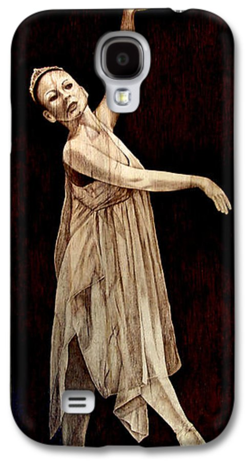 Pyrography; Woodburning; Ballerina; Light; Portrait; Shoe; Stage; Dress; Crown; Tiara; Dance; Galaxy S4 Case featuring the pyrography Grace Touching Light by Jo Schwartz