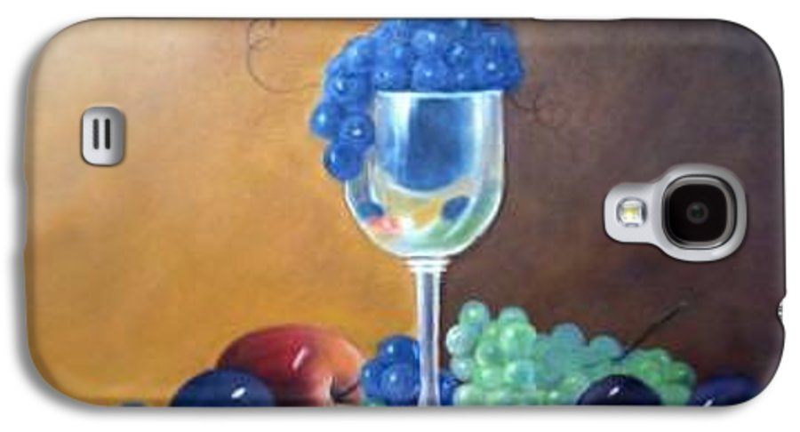 Wine Galsses With Grapes Galaxy S4 Case featuring the painting Grapes And Plums by Susan Dehlinger
