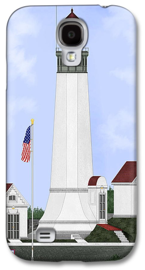 Lighthouse Galaxy S4 Case featuring the painting Grays Harbor Light Station Historic View by Anne Norskog