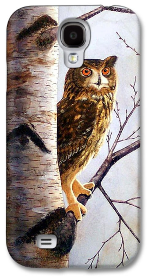 Great Horned Owl In Birch Galaxy S4 Case featuring the painting Great Horned Owl In Birch by Frank Wilson