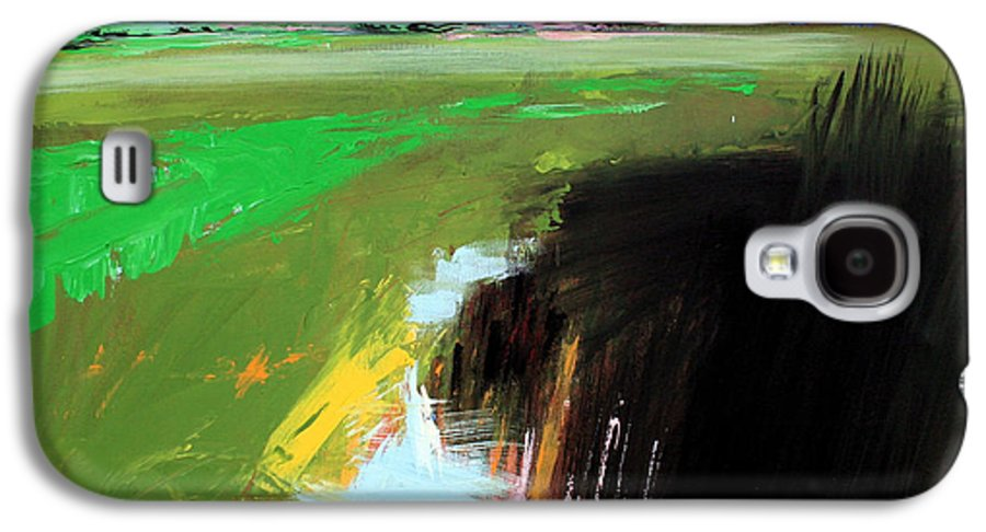 Abstract Landscape Galaxy S4 Case featuring the painting Green Field by Mario Zampedroni