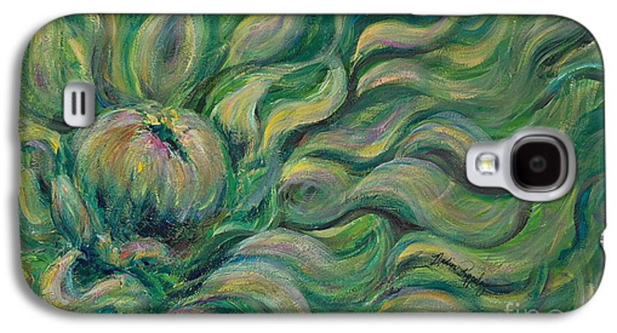 Green Galaxy S4 Case featuring the painting Green Flowing Flower by Nadine Rippelmeyer
