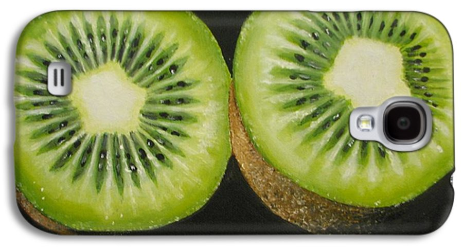 Kiwi Galaxy S4 Case featuring the painting Green Kiwi Oil Painting by Natalja Picugina