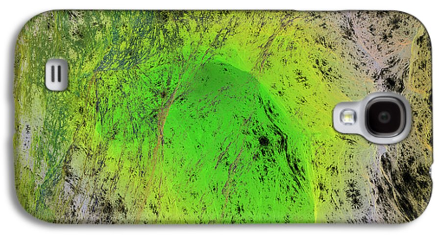 Abstract Galaxy S4 Case featuring the digital art Green On Center Stage by Deborah Benoit