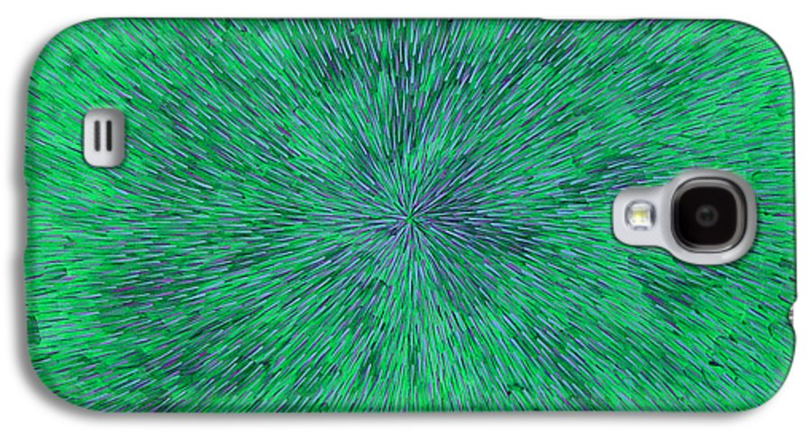 Abstract Galaxy S4 Case featuring the painting Green Radation With Violet by Dean Triolo