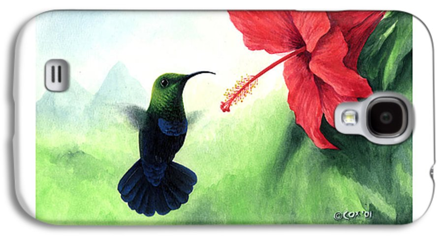 Chris Cox Galaxy S4 Case featuring the painting Green-throated Carib Hummingbird And Red Hibiscus by Christopher Cox