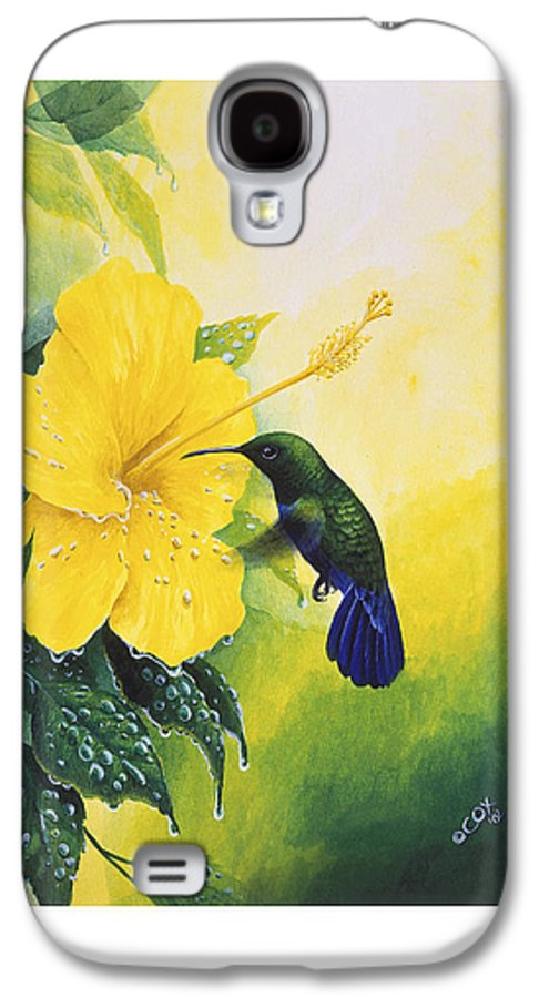 Chris Cox Galaxy S4 Case featuring the painting Green-throated Carib Hummingbird And Yellow Hibiscus by Christopher Cox