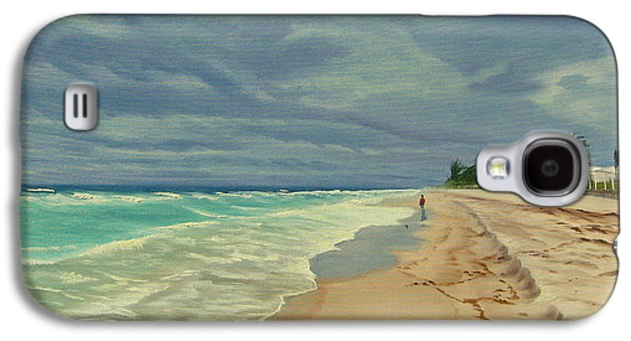Beach Galaxy S4 Case featuring the painting Grey Day On The Beach by Lea Novak