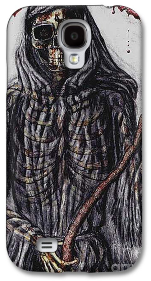 Grim Reaper Galaxy S4 Case featuring the drawing Grim Reaper Colored by Katie Alfonsi