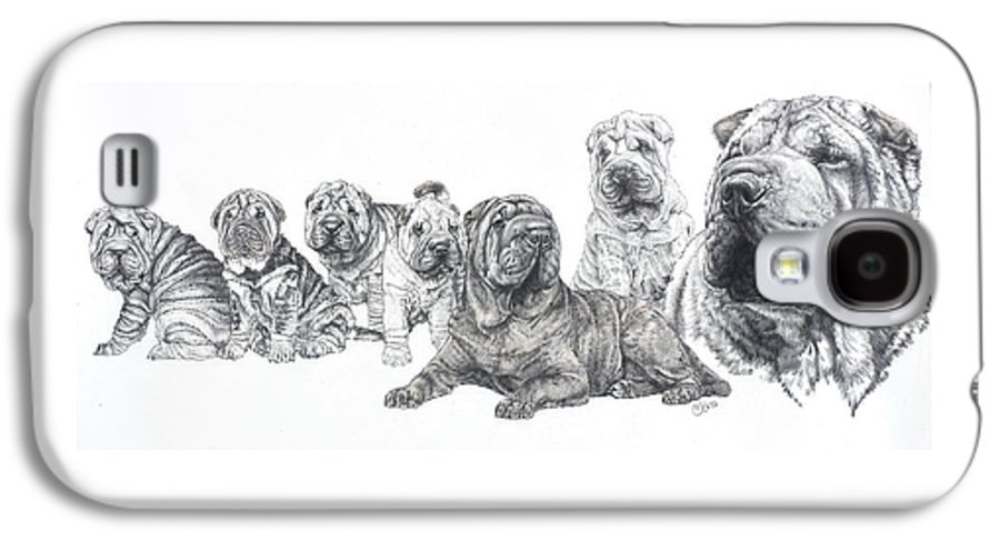 Non-sporting Group Galaxy S4 Case featuring the drawing Growing Up Chinese Shar-pei by Barbara Keith
