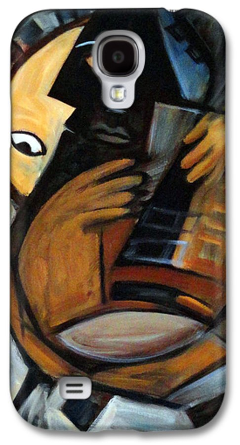 Cubism Galaxy S4 Case featuring the painting Guitarist by Valerie Vescovi