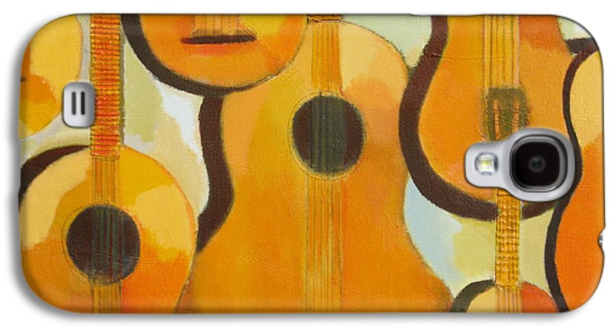 Abstract Galaxy S4 Case featuring the painting Guitars by Habib Ayat