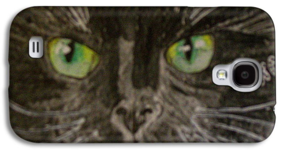 Halloween Galaxy S4 Case featuring the painting Halloween Black Cat I by Kathy Marrs Chandler
