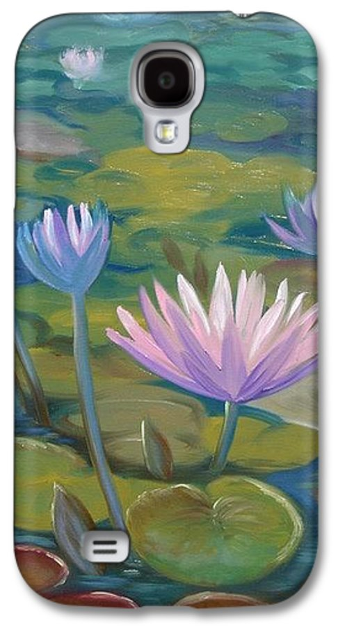 Pond Galaxy S4 Case featuring the painting Happy Lilies by Tan Nguyen