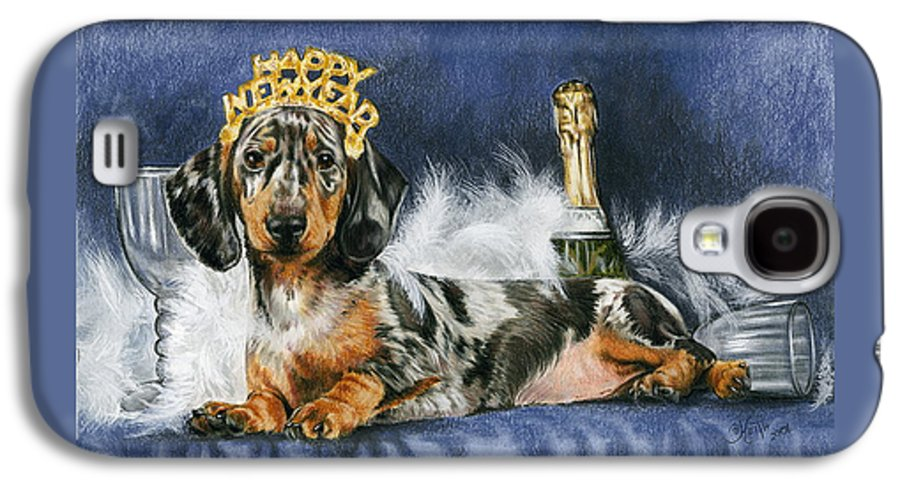 Dog Galaxy S4 Case featuring the mixed media Happy New Year by Barbara Keith